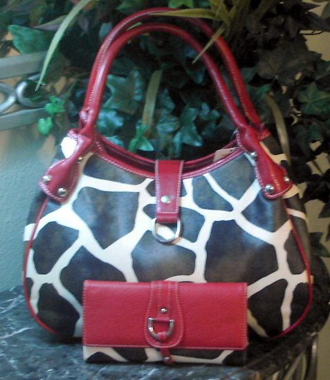 Giraffe Designer Inspired Red Trim Satchel Handbag