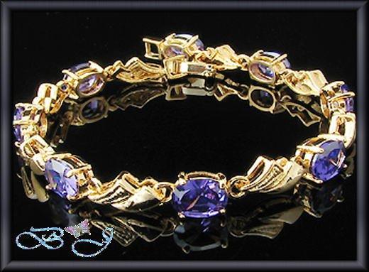 8x8mm Sim Purple Amethyst 18K YGP Tennis Bracelet