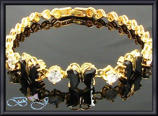 6x8mm Sim Black Sapphire Butterfly 18KGP Tennis Bracelet