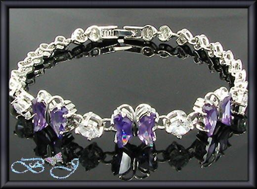 6x8mm Sim Purple Amethyst Butterfly 18K WGP Tennis Bracelet