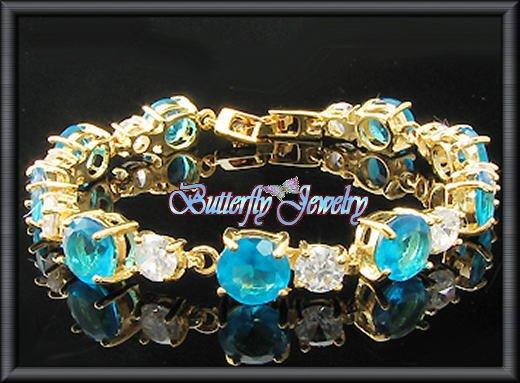 9x8mm Ocean Blue Sapphire Round Tennis Bracelet