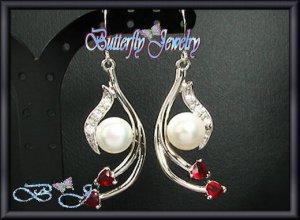 2x10mm White Fresh Water Pearl Simulated Ruby Earrings