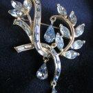 Vintage COROCRAFT Sapphire Blue Rhinestone BROOCH/PIN