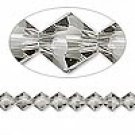 6mm swarovski crystal *black diamond* with Silver Spacers Bracelet