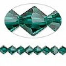 6mm swarovski crystal *emerald* with silver spacer bracelet