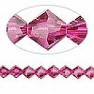 8mm swarovski crystal *fuchsia* with silver spacer 7 inch bacelet