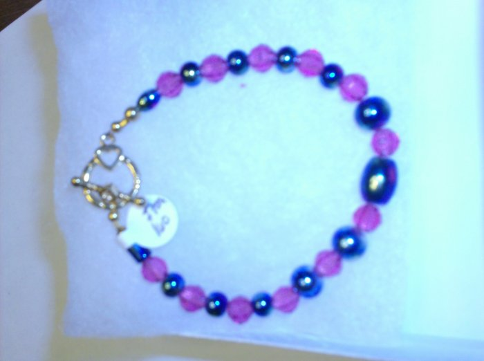 Blue/Star Glass Beads pink spacers Clamp Bracelet