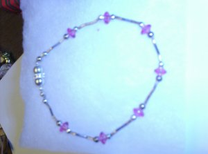 Pink stones with silver spacers maginet clamp