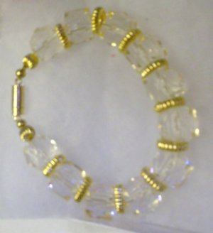 Chunky Clear Glass beads with Gold spacers Magnet Clamp