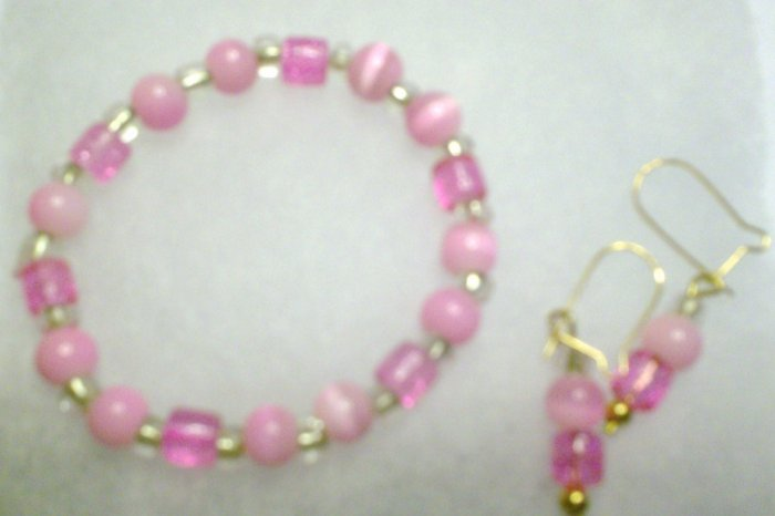 Pink and clear with matching earrings
