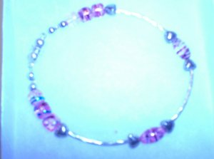 pink with silver long beads