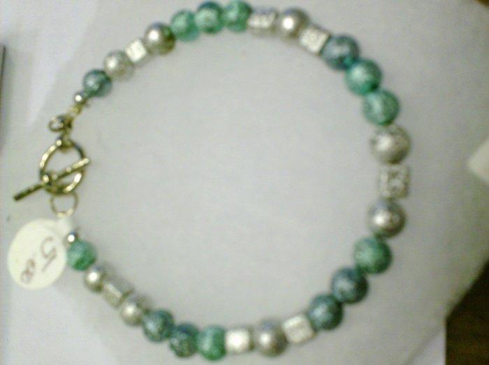 Shimmering Beads Blue, Green, and white bracelet