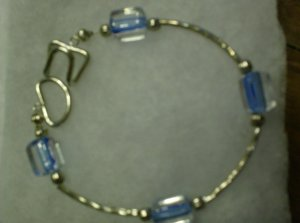 clear with blue inside glass bead bracelet