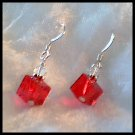 Red Cube Swarovski Earrings