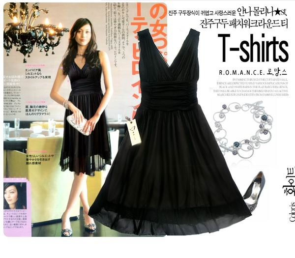 20s Twenties Chiffon Black Dress A8512