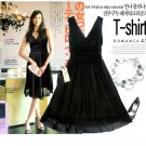 20s Twenties Chiffon Black Dress A8512