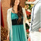 20s Twenties Chiffon Dinner Dress (Green) A3534