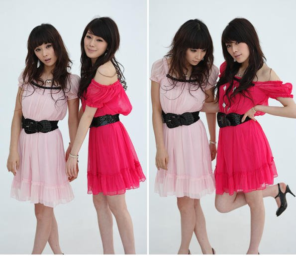 20s Twenties Chiffon Dress with Belt (Pale Pink or Deep Pink) A0586