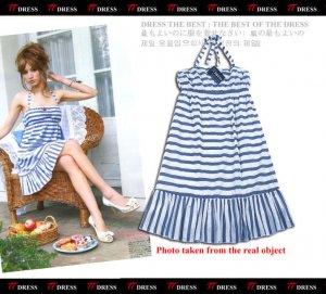 20s Twenties Halter Cotton Stripe Dress A0976