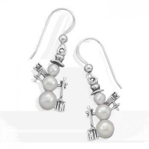 Silver and Pearl Snowman Earrings