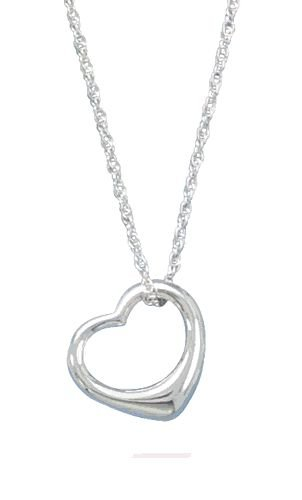 Necklace With Floating Heart Pendant