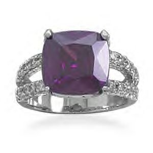 Ring With Soft Square Purple CZ