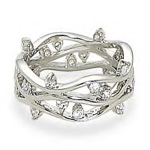 Ring With Open Wave CZ Band Design