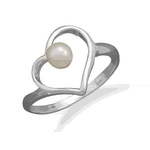 Heart Ring with Cultured Freshwater Pearl