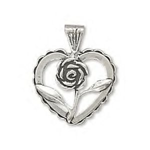 Silver Heart Charm With Rose