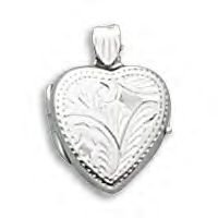 Silver Heart Locket With Etched Finish