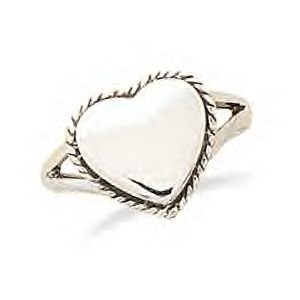 Engravable Polished Heart Ring With Rope Edge