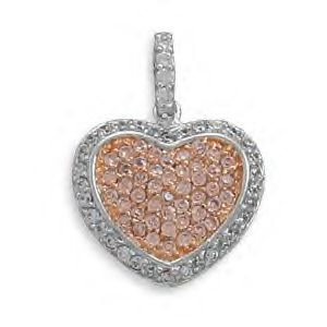 Heart Pendant With Pink and Clear CZs