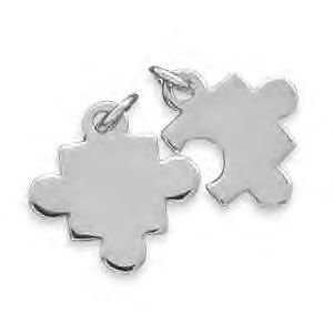 Silver Puzzle Pieces Charm Set