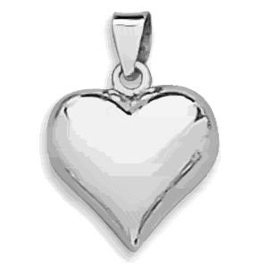 Silver Puffy Heart Pendant