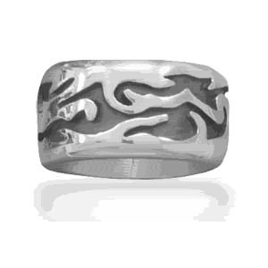 Flame Design Sterling Silver Ring