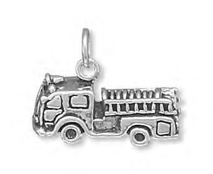 Sterling Silver Fire Truck Charm