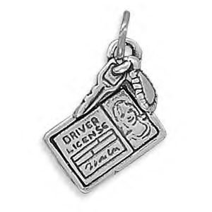 Driver License and Key Silver Charm