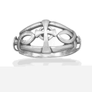 Ichthys and Cross Design Ring