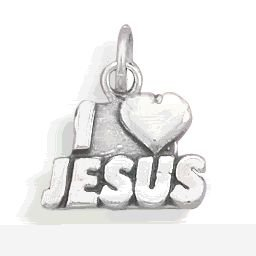 Sterling Silver I Love Jesus Charm