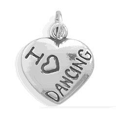 I Love Dancing Silver Heart Charm