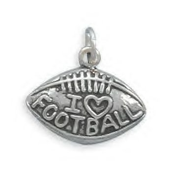 Sterling Silver I Love Football Charm