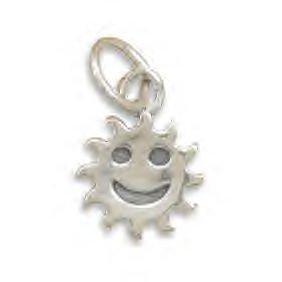 Silver Smiley Face Sun Charm