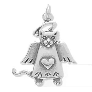 Cat Angel Sterling Silver Charm
