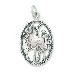 Oval Unicorn Charm