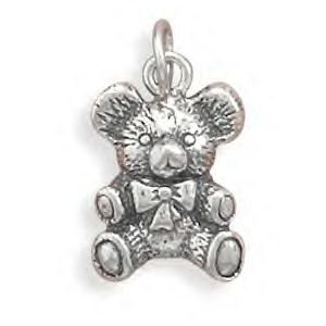 Antique Teddy Bear Silver Charm