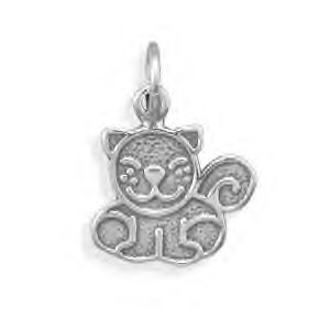 Smiling Cat Sterling Silver Charm