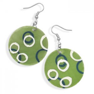 Hand Painted Green Shell Fashion Earrings