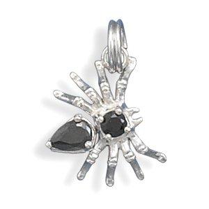 Halloween Spider Charm with Black CZs