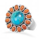 Turquoise and Coral Sunburst Ring