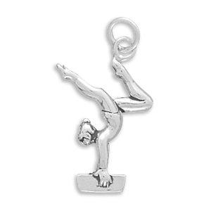 Female Gymnast Sterling Silver Charm